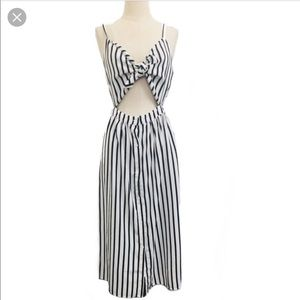 Mebon Tie-front Striped Dress